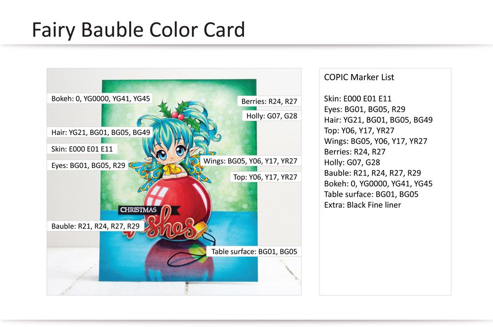 COPIC Coloring Guide: Fairy Bauble Christmas Card