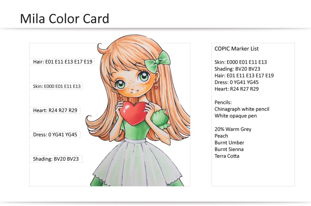 COPIC Coloring Guide: Mila\'s Heart